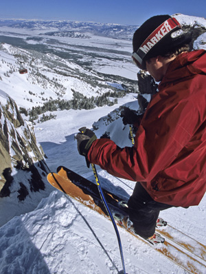 Skier looking into Corberts