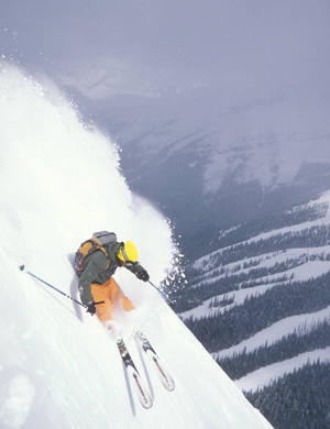 Skier on Delirium Drive,Banff