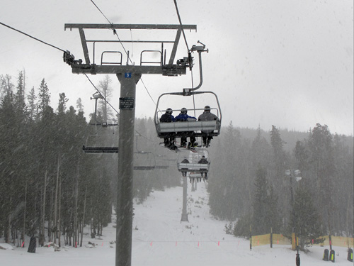 Skiers sitting on a Chair Lift
