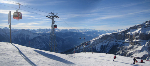 Landscape view of a Swiss ski run