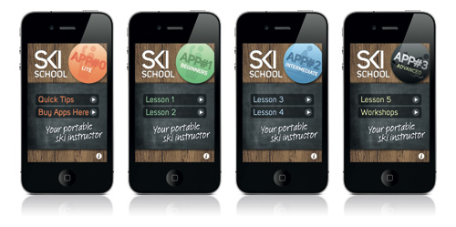 Images of the Ski School App on an iPhone