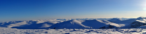 Panoramic view of the Cairngorm mountains, Scotland