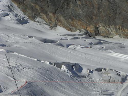 Slalom courses set-up on the Sass Fee glacier, Switzerland