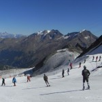 Skiing on the Saas Fee glacier, Switzerland