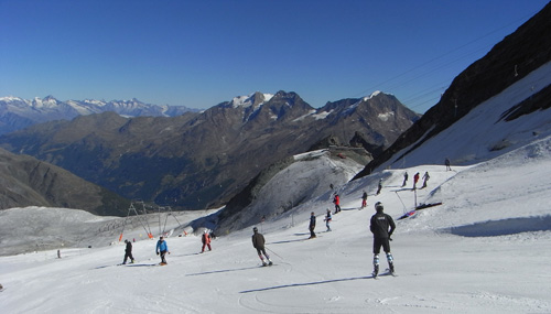 Skiing on the Saas Fee glacier, Switzerland