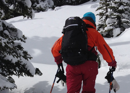 Ski Touring with EVOC backpack