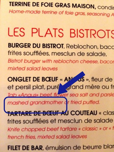 Menu at The Bistrot de l'Orée