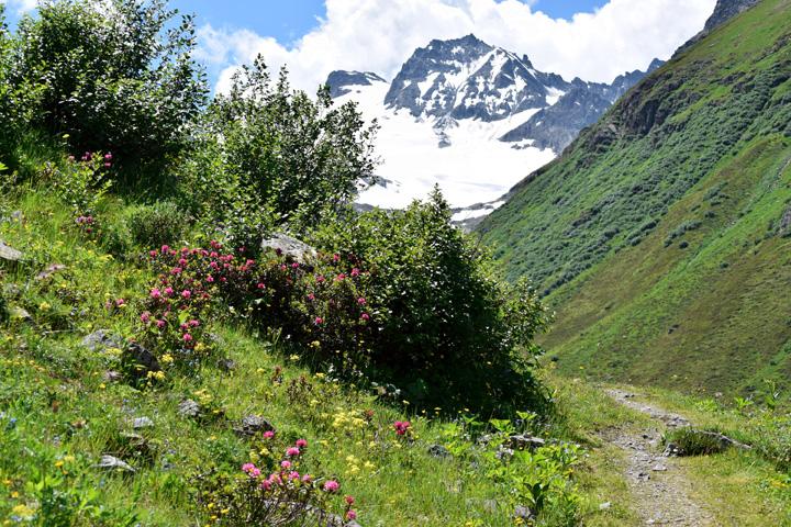 Mountain path through the Austrian Alps above Galtür