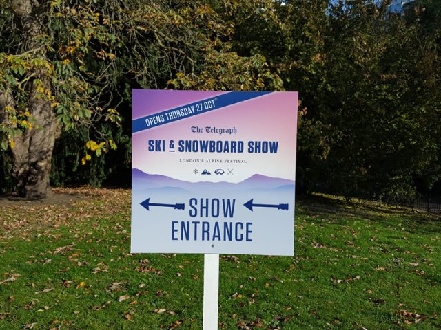 London ski and snowboard show sign