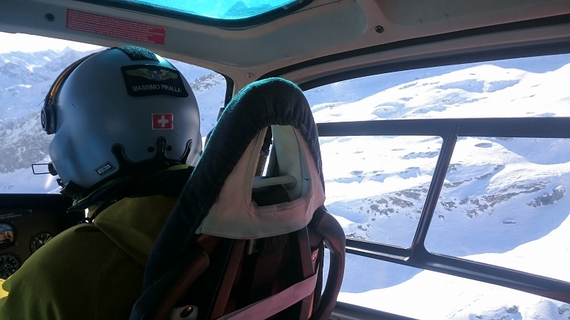 In the Helicopter flying over the Italian Alps