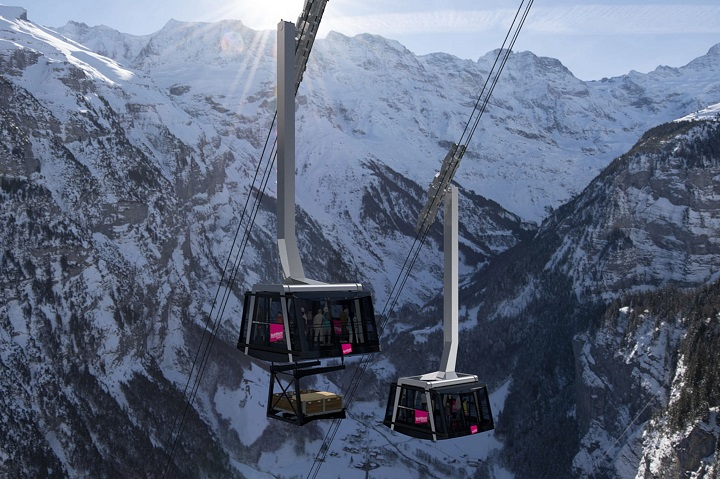 The proposed new cable car up to Mürren