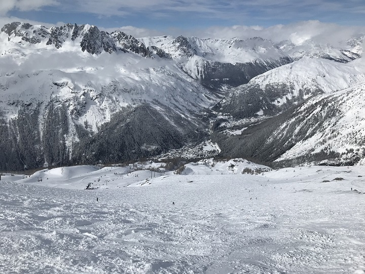 Looking down towards Argentiere from Le Grands Montets
